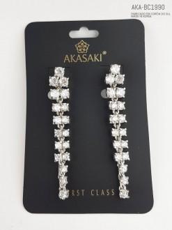 Brinco feminino prateado com cristal  - AKA-BC1990