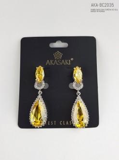 Brinco feminino prateado amarelo - AKA-BC2035