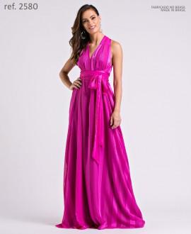 Vestido longo de chiffon Listrado Pink Tamanho único p/  amarração - Ref. 2580