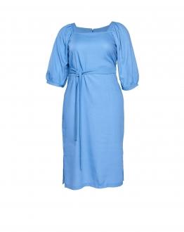 Vestido  azul plus size com manga 3/4  Ref. U61521