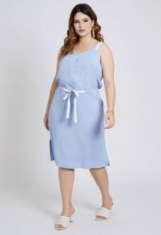 Vestido bicolor plus size midi azul Ref. U79821