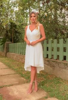 Vestido branco curto com cinto strass - Ref. 2391