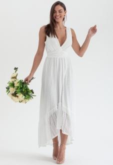 Vestido branco margaret midi mullet ref. 2707