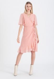 Vestido chemise cachecouer transpassado salmão ref. 2673