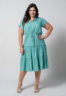Vestido camadas com coulisse verde plus size  ref. U69921
