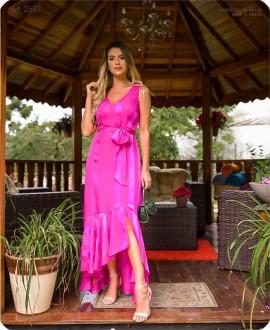 Vestido chiffon Elea Mullet Pink - Ref. 2557