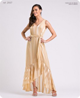 Vestido de festa Mullet Dourado listrado ideal para eventos - Ref. 2557