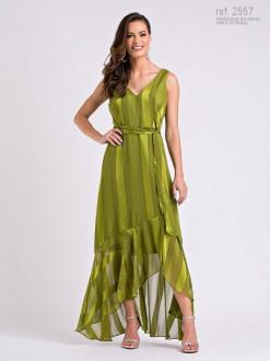 Vestido chiffon Elea Mullet verde - Ref. 2557