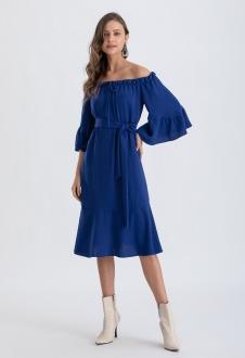 Vestido cigana manga 3/4 elástico azul Ref. 02654