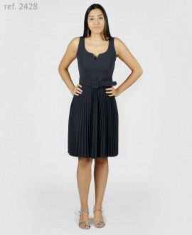 Vestido curto de festa crepe malha saia plissado- Ref. 2428