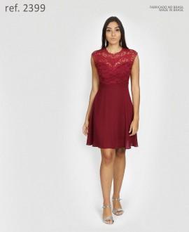 Vestido de festa curto crepe rodado renda e guippir - Ref. 2399