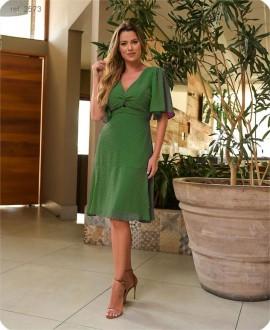 Vestido curto de chiffon Dot com manga Verde - Ref. 2573