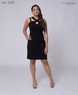 Vestido tubinho crepe detalhe tiras - Ref. 2351