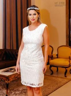 Vestido branco curto tubinho de tule bordada - Ref. 2358