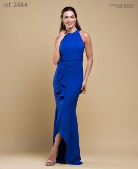 Vestido de crepe longo de festa cava americana - Ref. 2484