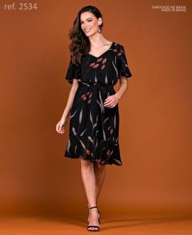 Vestido de curto crepe estampado com manga - Ref. 2534 Preto