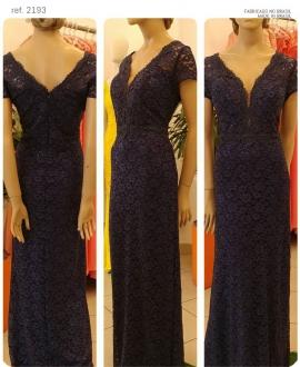 Vestido de festa azul marinho longo renda plus size ref. 2193