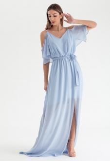 Vestido de festa azul serenity alça - Ref. 2468