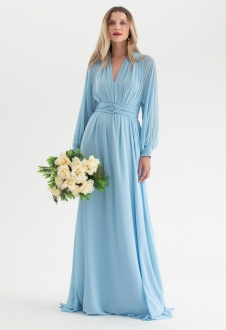 Vestido de festa Azul Serenity multi-tamanho manga longa Ref. 2725
