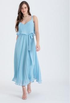 Vestido de festa azul serenity Plissados - Ref. 2466