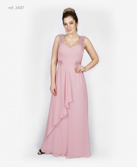 Vestido de festa com  bordado rosê - Ref. 2407