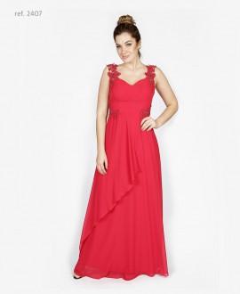 Vestido de festa com  bordado vermelho- Ref. 2407