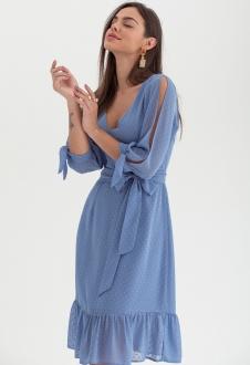 Vestido curto chiffon dot azul ref. 2584