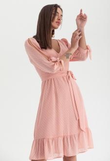 Vestido de festa chiffon dot rosê ref. 2584