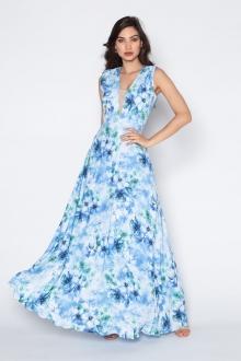 Vestido de festa estampado azul ref.P616