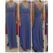 Vestido de festa longo bordado de pérolas ref. 2203, cores Tiffany, Rosê, Niagara s