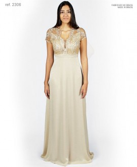 Vestido de festa longo busto de tule bordado dourado ref. 2306 seuvestido