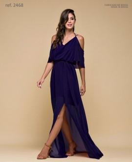 Vestido de festa longo com alça e faixa Azul marinho - Ref. 2468