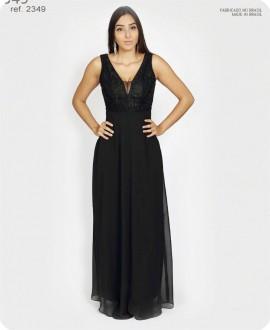Vestido de festa longo crepe Preto ref. 2349