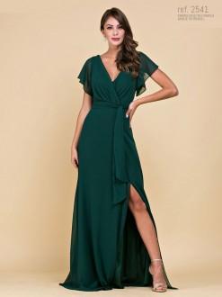 Vestido de festa longo verde com manga borboleta- Ref. 2541