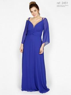 Vestido de festa longo azul com manga e trançado na pala ref. 2451