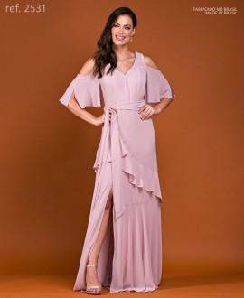 Vestido de festa longo Rosê ref. 2531