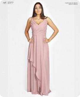 Vestido de festa longo de chiffon busto transpassado rosê - Ref. 2377