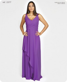 Vestido de festa longo de chiffon busto transpassado roxo - Ref. 2377