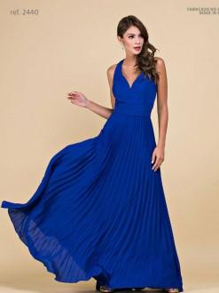 Vestido de festa longo de crepe liso com saia plissada - Ref 2440