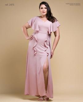 Vestido de festa LONGO rosê plus size Ref. 2475