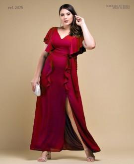 Vestido de festa LONGO vermelho plus size Ref. 2475
