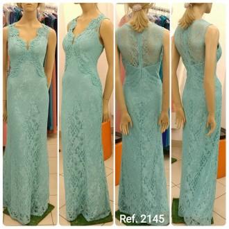 Vestido de festa longo de Renda Com Guippir Bordado - Ref. 2145