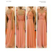 Vestido de festa longo de Renda e guippir Salmão e Tiffany - Ref. 2184