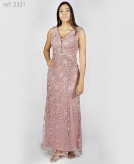 Vestido de festa longo de TULE Bordado Rosê - Ref. 2321