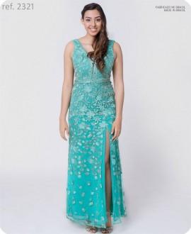Vestido de festa longo de TULE Bordado Tiffany - Ref. 2321