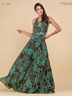Vestido de festa longo estampado com saia plissada - Ref 2440