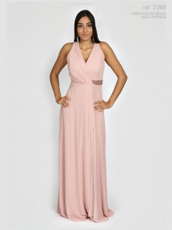 Vestido de festa longo Nude detalhe bordado - Ref. 2360