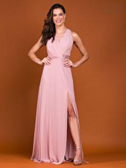 Vestido de festa longo fenda detalhe bordado rosê - Ref. 2360