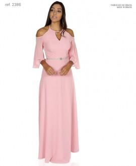Vestido de festa longo frente única com manga - Ref. 2386