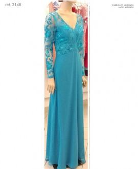 Vestido de festa manga longa tule bordado tipo renda - Ref. 2266